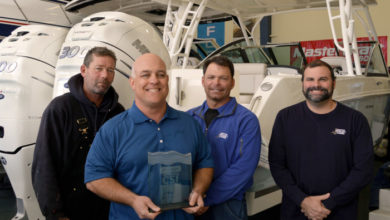 From left to right: Ernie Miller, Head Mechanic; Tony Villareale, President; Mike Friscia, Service Manager; and Mike McSweeney, Service Director
