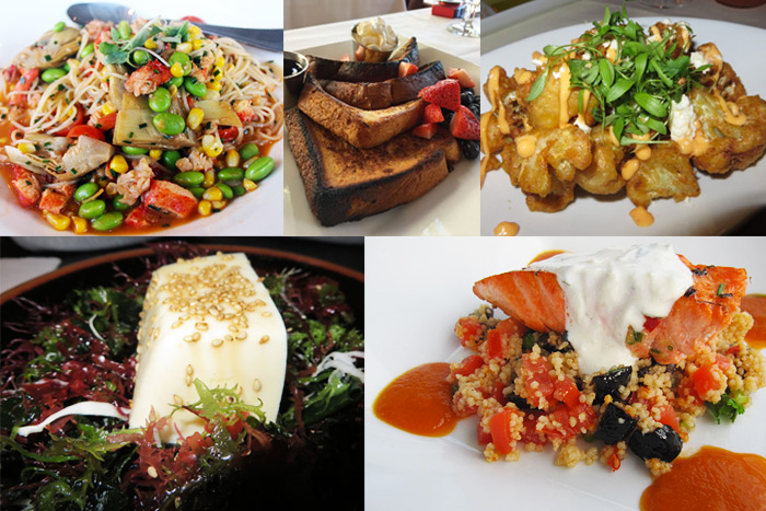 Hamptons restaurants food mashup: Dishes from (clockwise from top left) Southampton Social Club, 75 Main, Muse at The End, Momi Ramen and Plaza Cafe