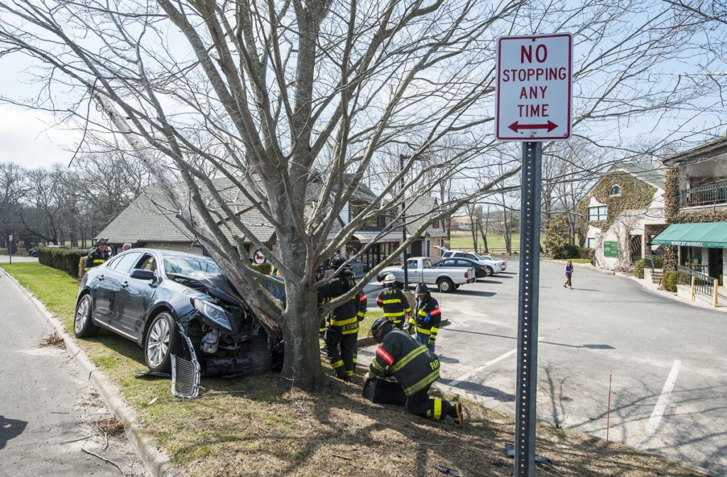 East Hampton Fire Department responds to a single-car accident in the village.