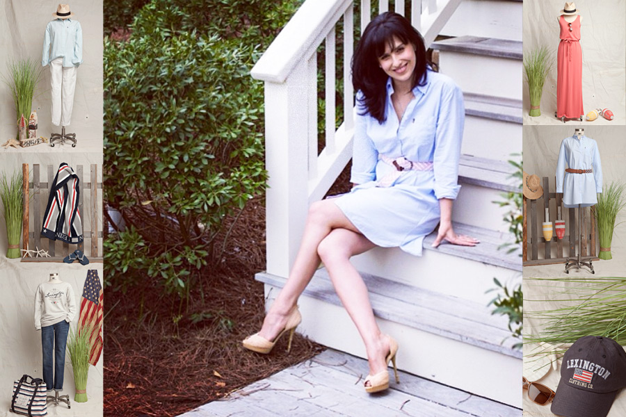 Hilaria Baldwin shows off her Alec shirtdress—part of her Hamptonite line with Lexington Clothing Co.