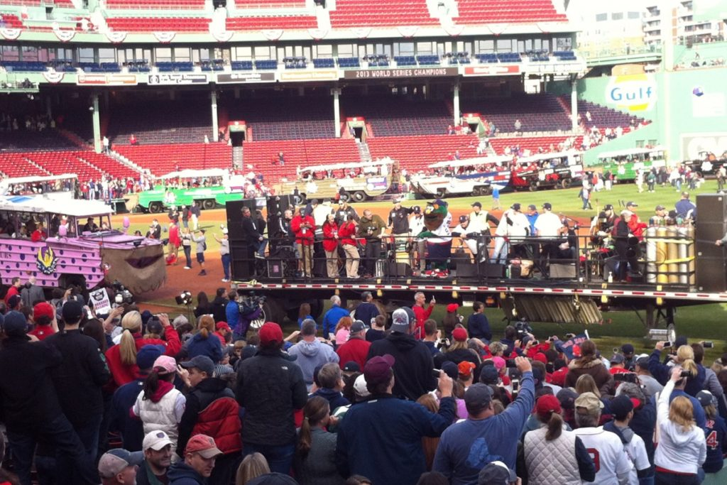 World Series victory ceremonies and parade kickoff at Fenway Park for the Boston Red Sox.