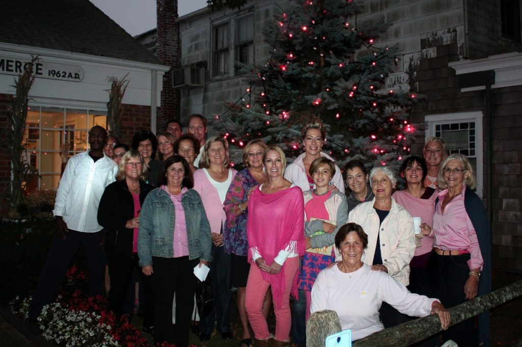 The tree in front of the Southampton Chamber of Commerce is lighted in pink for the month of October for breast cancer awareness.