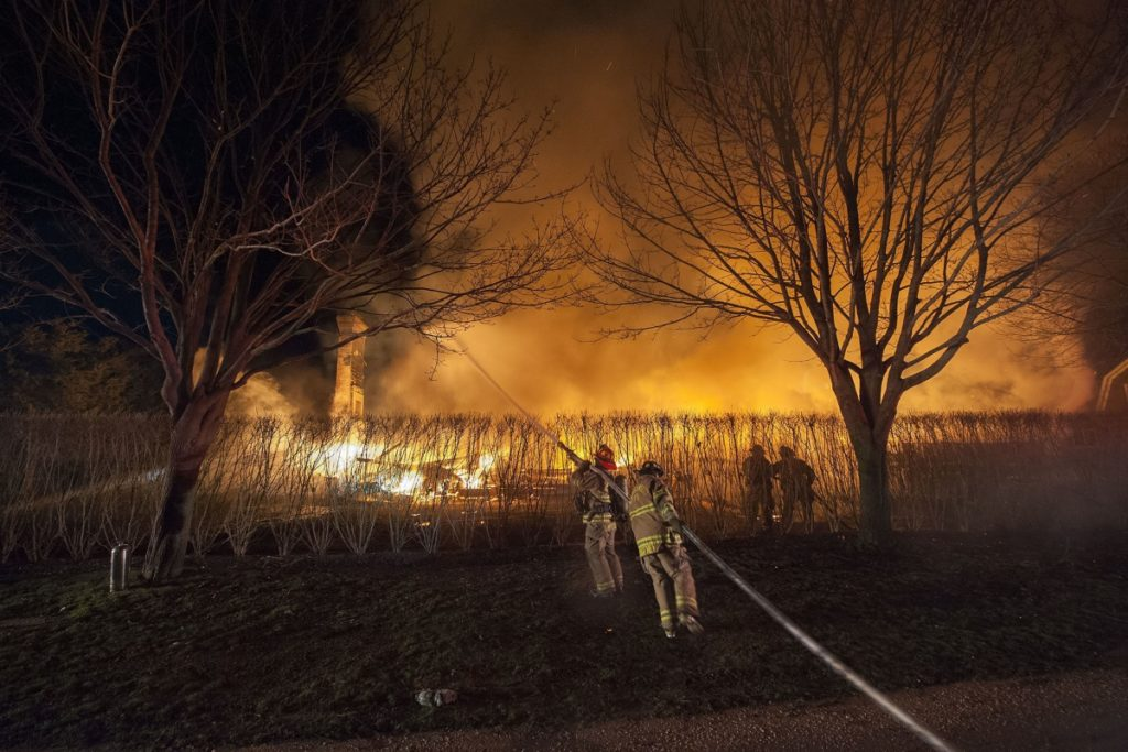 Amagansett, East Hampton and Springs firefighters fought a blaze on Miankoma Lane early Thursday that destroyed a house.