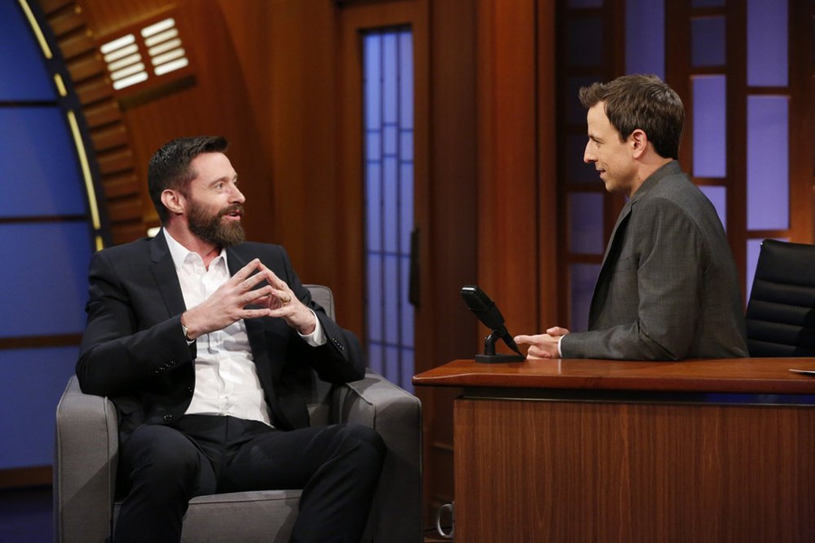 """Hugh Jackman speaks with """"Late Night"""" host Seth Meyers about """"X-Men: Days of Future Past."""""""