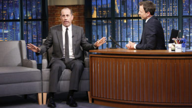 Jerry Seinfeld during an interview with host Seth Meyers on Late Night's June 9, 2015, episode.