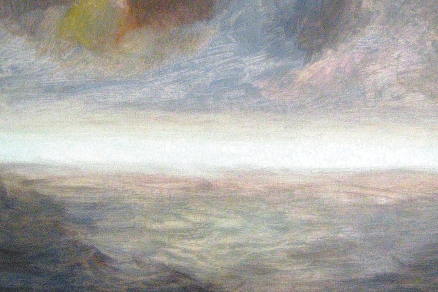 """DETAIL: Nancy Abbe's Dan's Papers Cover painting """"Dawn on Montauk"""""""