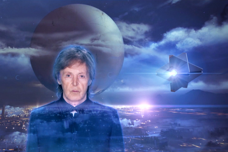 """Paul McCartney in his """"Hope For The Future"""" video, featuring scenes from Bungie's Destiny video game"""
