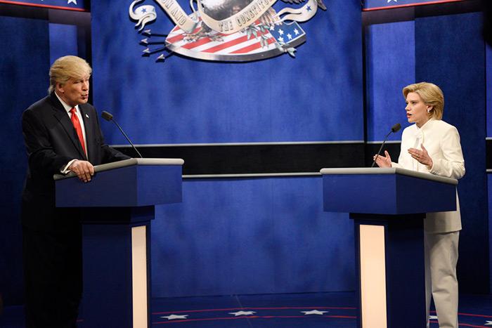 Alec Baldwin and Kate McKinnon as Donald Trumpo and Hillary Clinton on Saturday Night Live