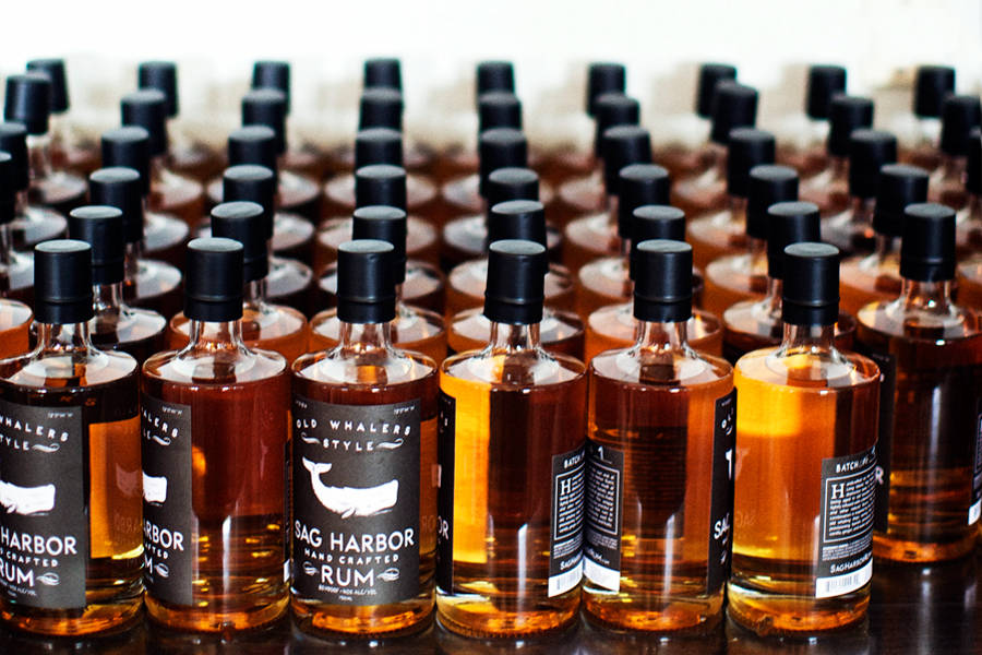 Sag Harbor Rum bottles prepped and ready for the May 1 delivery