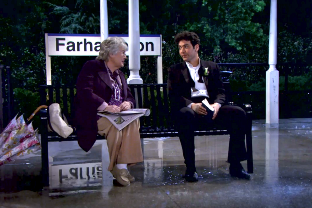 "A Dan's Papers reader and Ted Mosby at the Farhampton train station on the ""How I Met Your Mother"" finale."