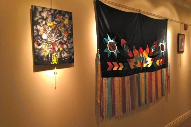 Works by Shinnecock artists on display at the Rogers Memorial Library in Southampton Village.