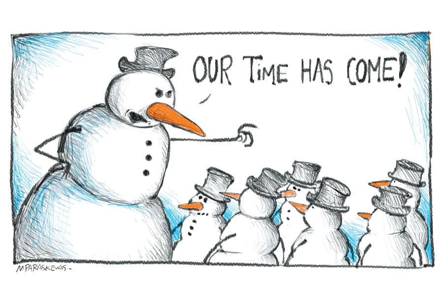 Snowman Cartoon By Mickey Paraskevas