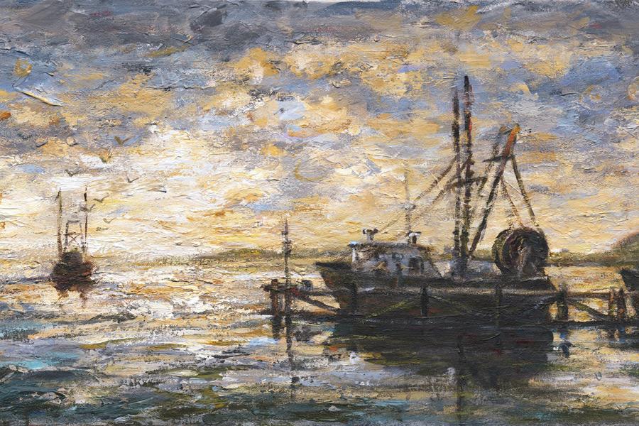 "Detail of Terrence Joyce's ""Docks, Greenport"" painting donation"
