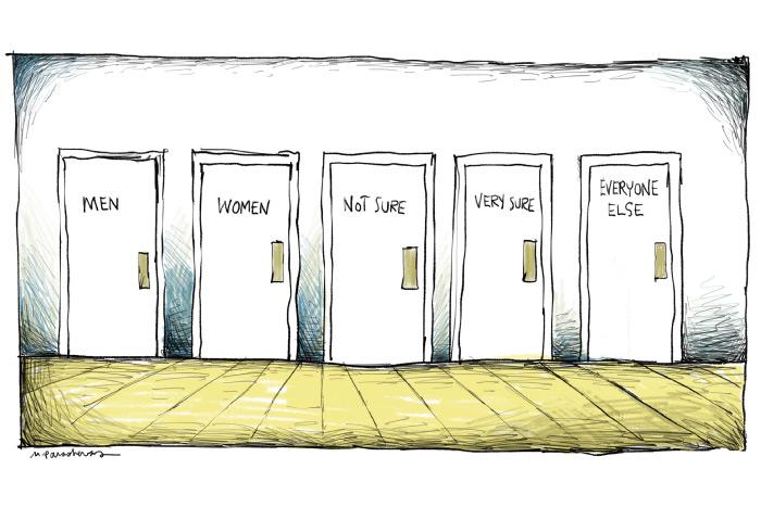 Transgender bathroom cartoon by Mickey Paraskevas