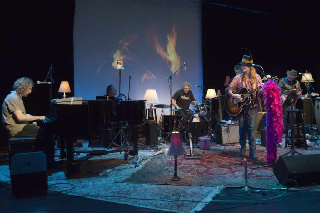 Nancy Atlas center stage with her drummer Richard Roach and bassist, Johnny Blood, for the third Fireside Session at The Bay Street Theater with special guest, piano and keyboardist, Danny Kean.