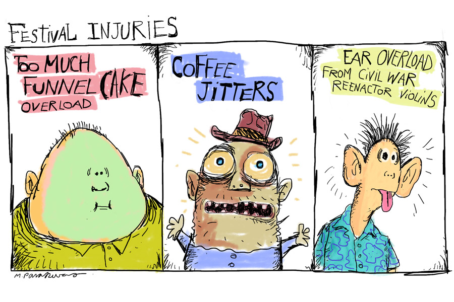 Mickey Paraskevas festival injuries cartoon