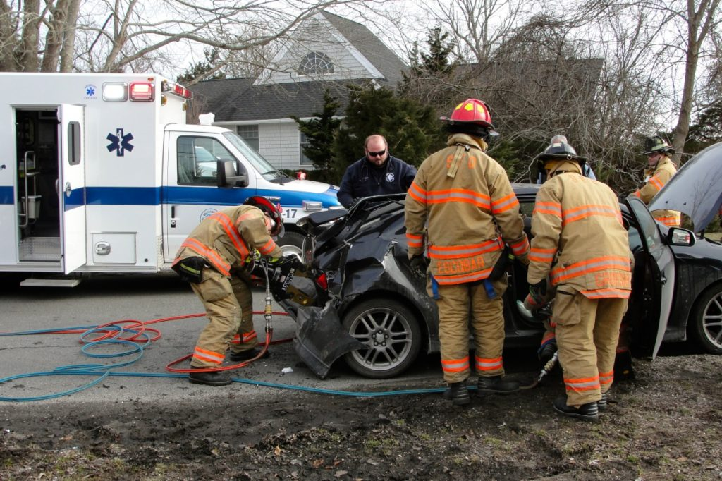 March 5 car accident in Southampton Village. Photo credit: Chris Brenner/SFD
