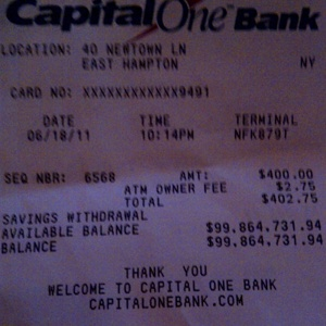 100 Million Dollar ATM Reciept