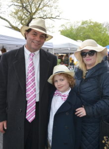 Steve Ringel, Director of East Hampton Chamber of Commerce walking the fair with his family, Celeste and Dylan