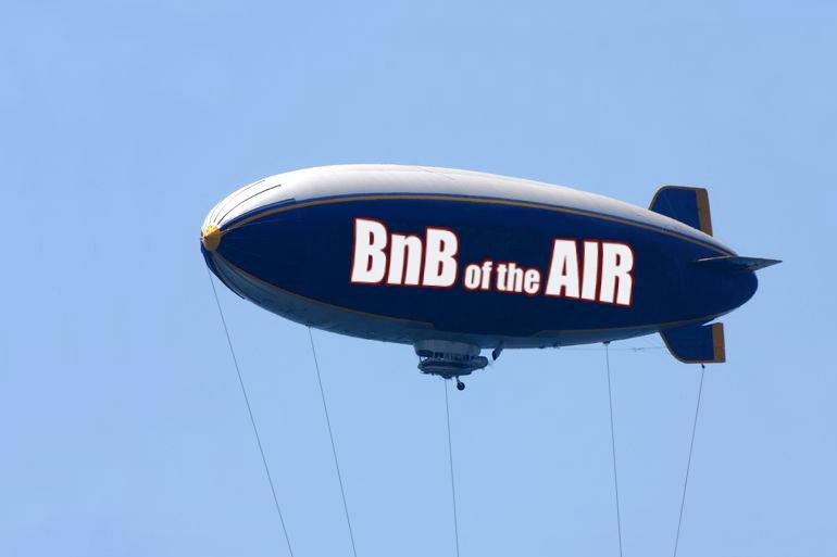 BnB of the Air blimp over Sagaponack