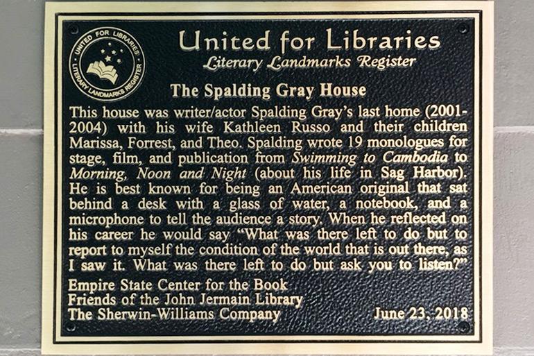 Spalding Gray plaque