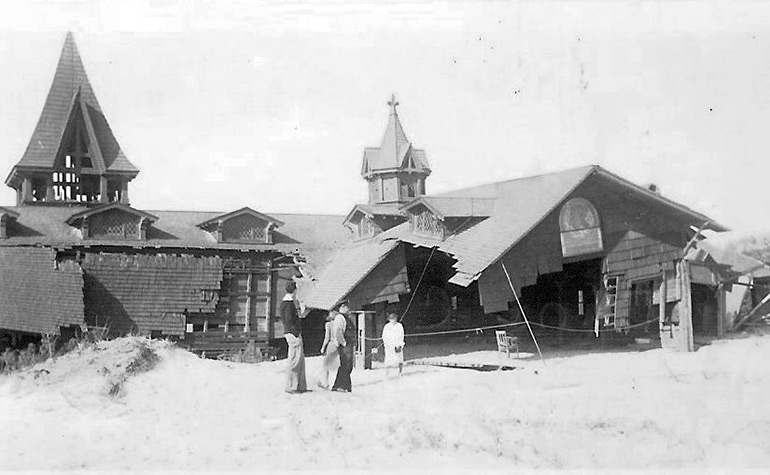 Wreckage of the St. Andrews Dune Church after the 1938 Hurricane