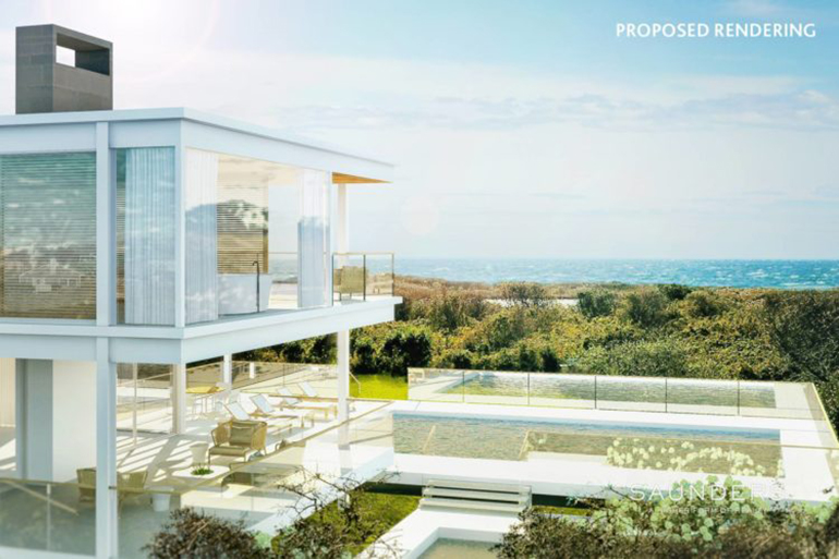Proposed rendering of Ditch Plains Beach House, Photo: Saunders