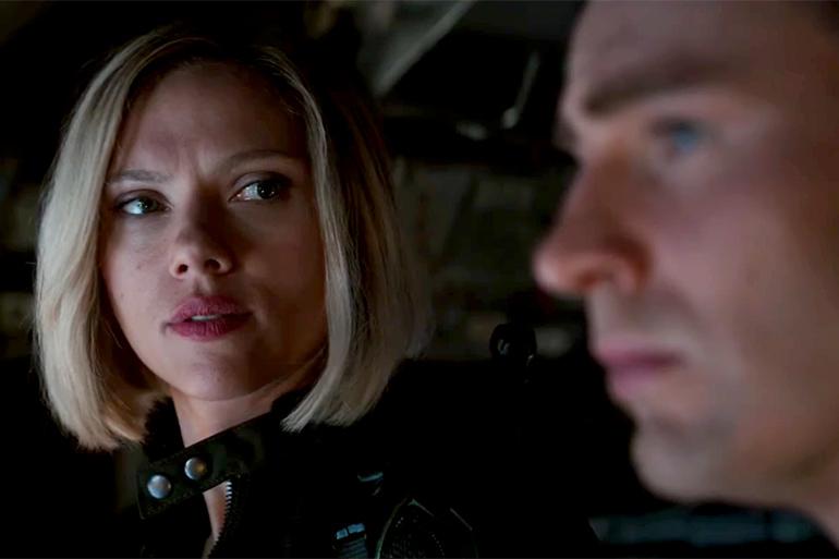 Scarlett Johansson and Chris Evans as Black Widow and Captain America in the Avengers: Endgame trailer