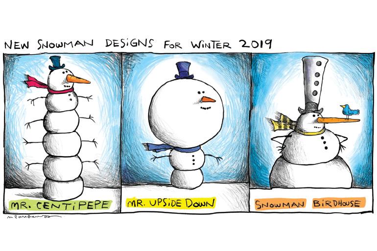 Snowman designs cartoon by Mickey Paraskevas