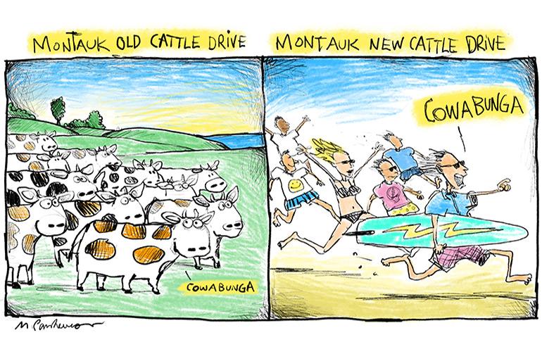 Montauk cattle drive cartoon by Mickey Paraskevas