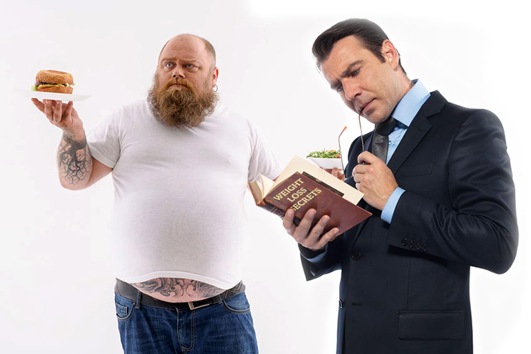 Fat man with food choices and thin guy in suit reading Weight Loss Secrets book