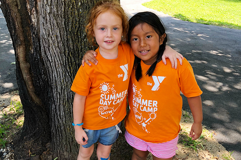 Young girl friends at YMCA East Hampton RECenter Summer Day Camp