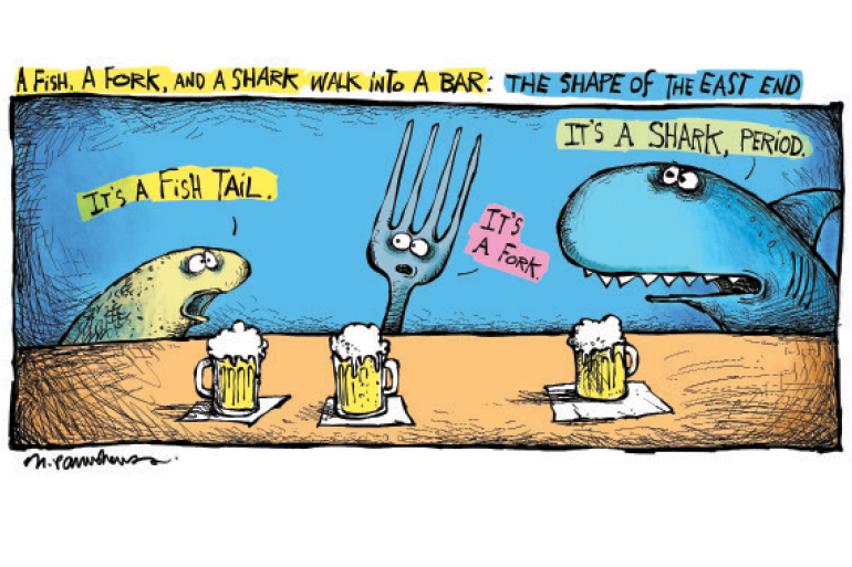 Fish, fork shark cartoon by Mickey Paraskevas