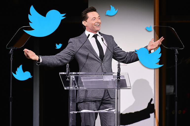 Hugh Jackman with Twitter birds