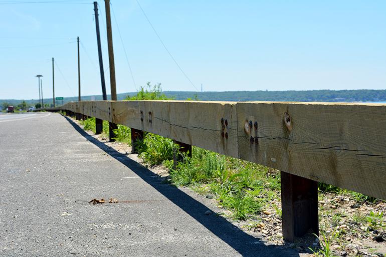 Wood guard rails at Long Beach