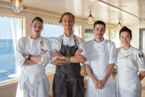 The Halyard team-Nathan Hitchcock-Sous chef, Chef Stephan Bogardus, Jeff Monsour, Rilke Witherstine-AM Sous chef