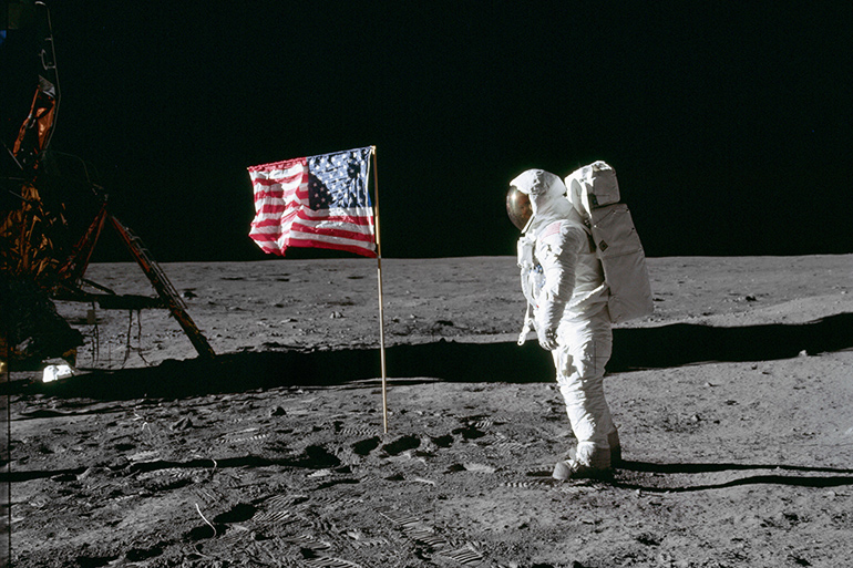 "Edwin ""Buzz Aldrin"" poses with U.S. flag on the Moon"