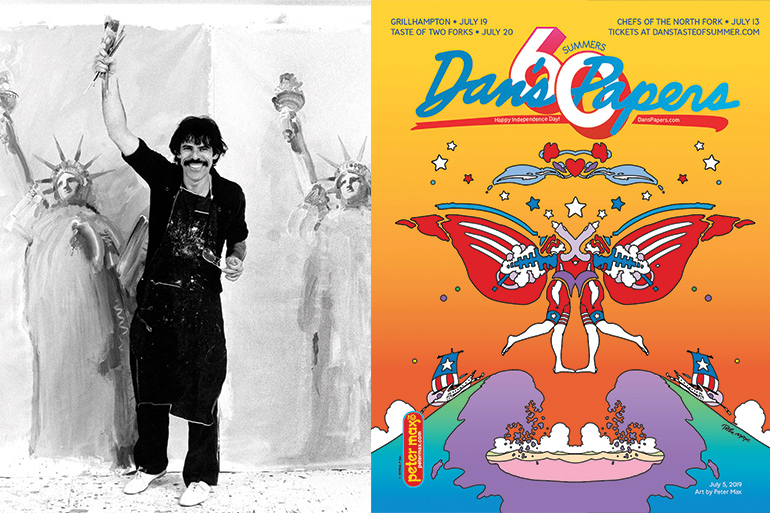 Classic shot of Peter Max on Reagan's White House lawn in 1981 and the July 5, 2019 Dan's Papers cover art