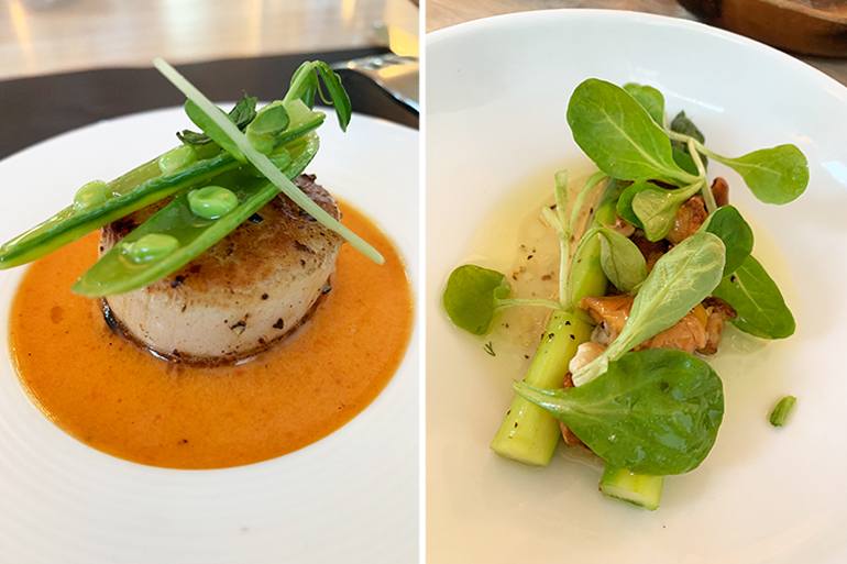 Local Seared Diver Scallops and Warm Asparagus Salad at Topping Rose House, Photos: Genevieve Horsburgh