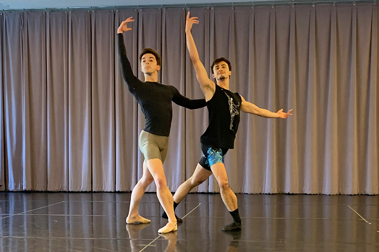 Tyler Maloney and Carlos Gonzalez in rehearsal for Hamptons Dance Project, Photo: Courtesy HDP