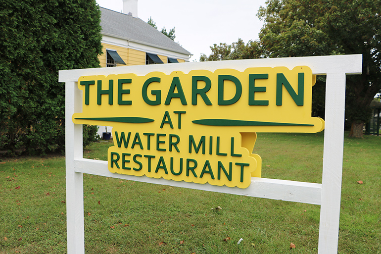 The Garden at Water Mill sign