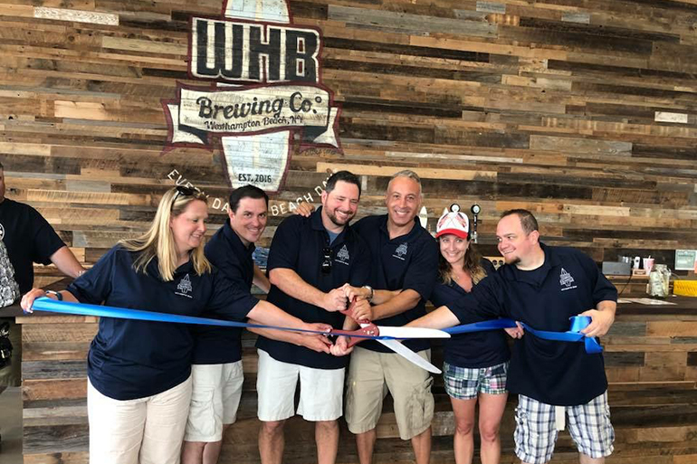 Westhampton Beach Brewing Co.'s ribbon cutting in 2018
