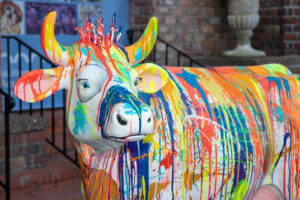Mickey Paraskevas's painted cow sculpture