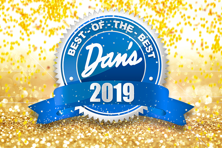 Dan's Best of the Best 2019 logo with gold confetti