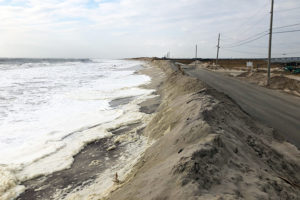 Waters rise to the Dune Road berm on Saturday, December 14, 2019