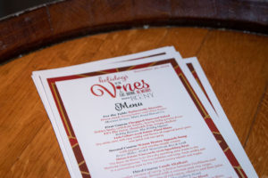 The Dan's Holidays in the Vines menu