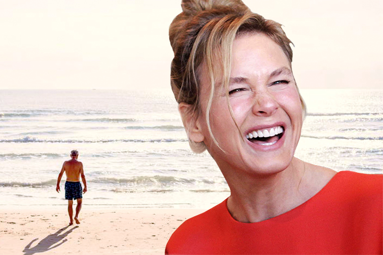 Renée Zellweger laughing and Commissioner Aspinall on beach vacation