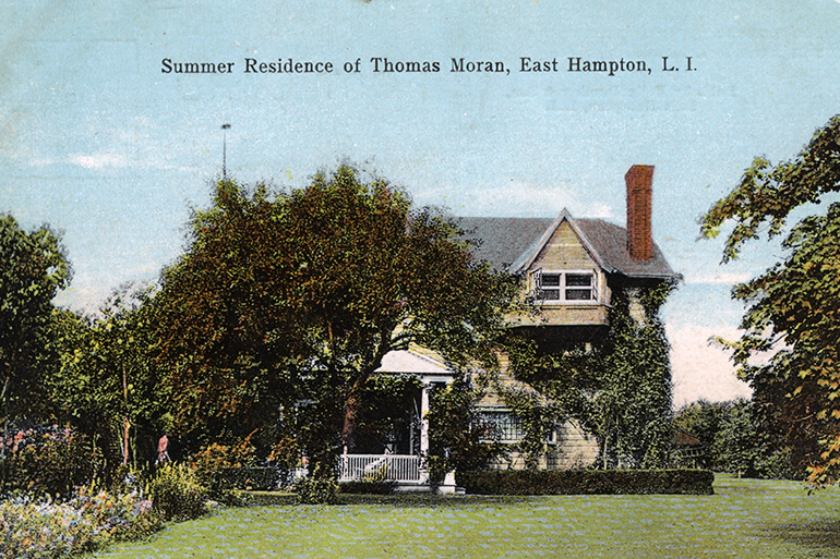 Postcard featuring the Summer residence of Thomas Moran in East Hampton, LI