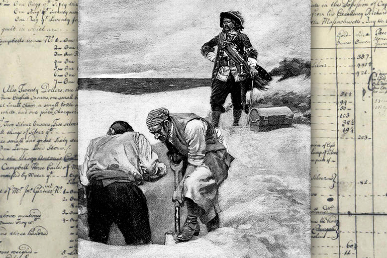 Captain Kidd and crew burying treasure on Gardiners Island over treasure inventory list