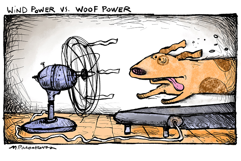 Wind power again cartoon by Mickey Paraskevas